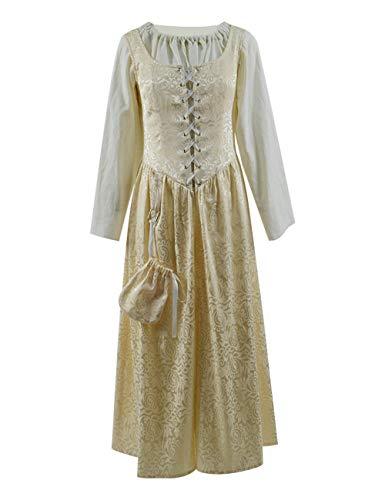 Womens Vintage Renaissance Dress Costume Retro Gothic Gown Fancy Dress (M, Beige)