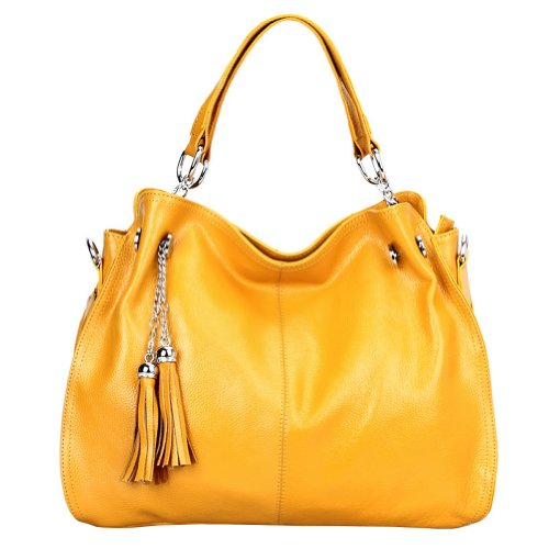 Dissa - Bolso de asas de cuero para mujer amarillo amarillo