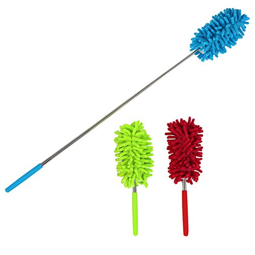 (Maguu Long-Reach Washable Dusting Brush with Telescoping Pole,Retractable Extendable Flexible Microfiber Duster for Home Car and Office(set of 3))