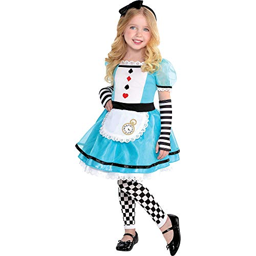 Costumes USA Wonderful Alice Costume for Girls, Size 3-4T, Includes a Dress, Headband, Footless Tights, and -