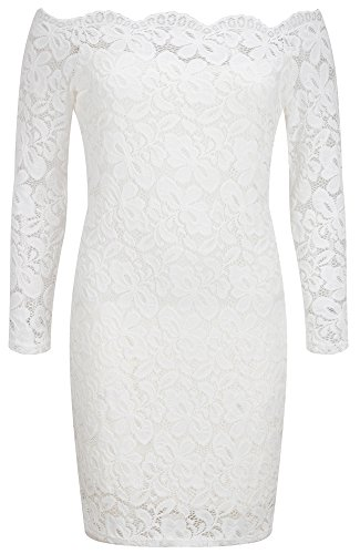 Bewish Dress Cocktail Boat Long Off Women Shoulder Sleeve White Neck Floral Bodycon Lace qU6qfr