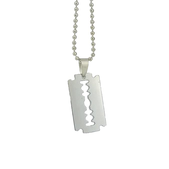Rose Summer Fashion Personality Punk Razor Blade Tag Metal Pendant Necklace by Rose Summer