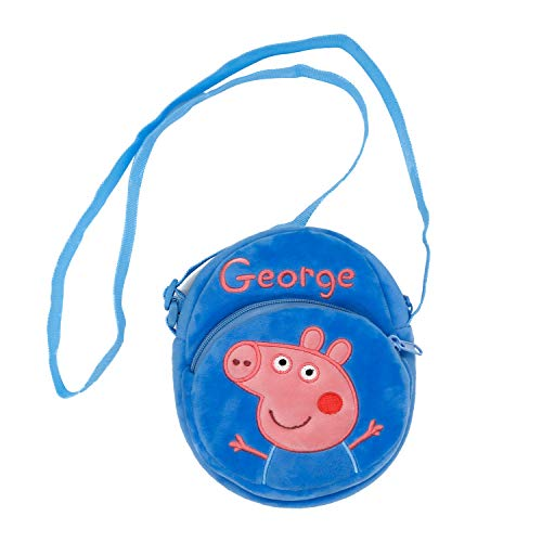HXQ Blue Peppa Pig purse Lovely Little Shoulder Bags, plush circle Crossbody Bags for Kids Toddlers Preschoolers Girls Boys