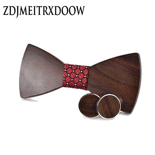 Graven 2018 New Fashion Wedding Bow Wooden Bow tie Cufflinks Kerchief Preferential Suit Tie gravata Suits Shirts Wooden Ties Set Color: SET-027