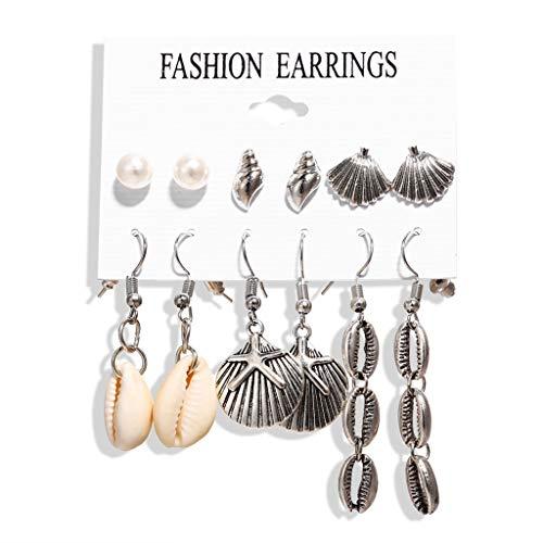 kitt Geometric Irregular Seashells Star Conch Set Dangle Earring for Women, Bohemian Jewelry Charm Pearl Earrings Gold Plated Metal Alloy Hawaiian Earring Studs Jewelry for Girls