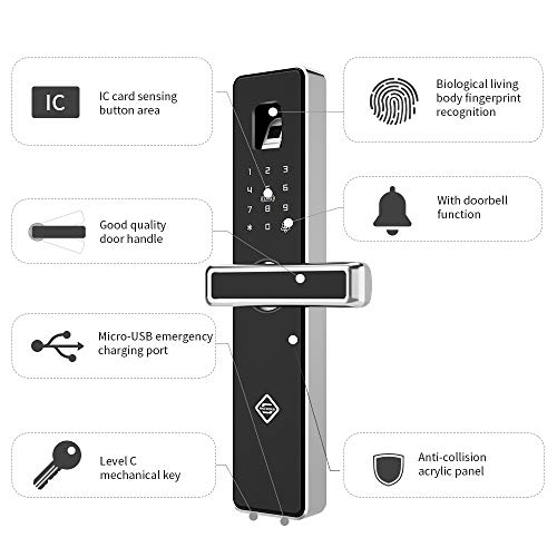 PINEWORLD Q303Plus Advance Fingerprint Smart Door Lock, Intelligent Touchscreen Door Knob with National Biometric Module+RFID Card and Mechanical Key for Home Security, Handle Direction Reversible by PINEWORLD (Image #2)