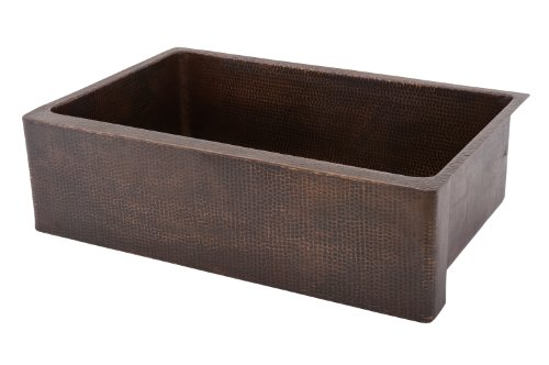 Premier Copper Products KASDB33229 33-Inch Copper Hammered Kitchen Apron Single Basin Sink, Oil Rubbed Bronze (33 Inch Copper Hammered Kitchen)