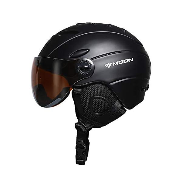 MOON Ski Helmets Snow Helmet with Detachable Ski Goggles Lens, Active Ventilation System Warm Fluff Earpads Chin Cushion 100% UV400