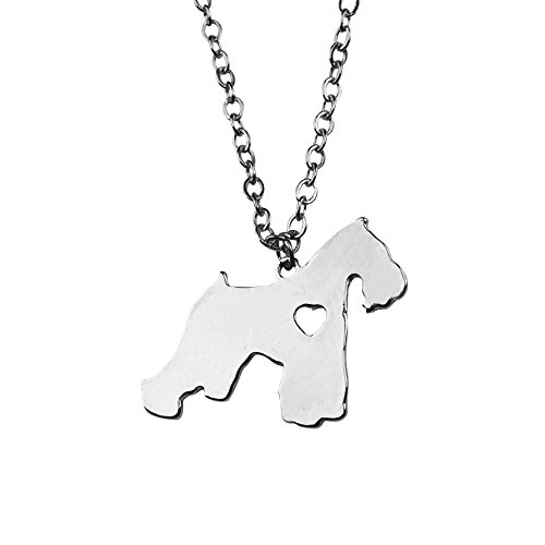 Art Attack Silvertone I Love My Dog Lover Heart Outline Schnauzer Pet Puppy Rescue Pendant - Face For Hair Facial Square
