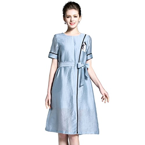 Women's Embroidery Linen Dress Casual Breathable Dresses with Tie-Waist Belt (Glamour Belted Belt)