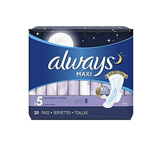 Always Maxi Overnight Extra Heavy Flow With Wings, Unscented Pads 20 Count (Pack of 4) by Always