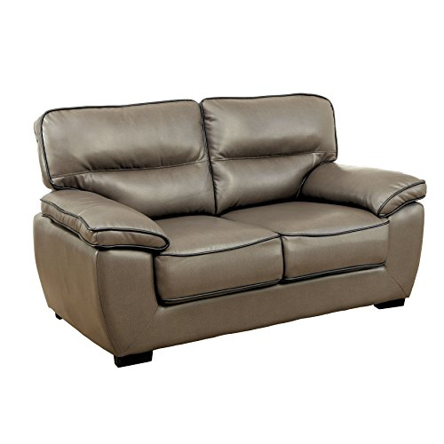 HOMES: Inside + Out Iohomes Gentry Faux Leather Loveseat, Gray