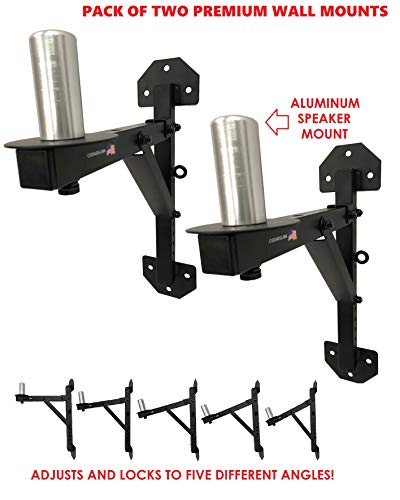 Cedarslink PA Speaker Wall Mount Brackets - 2 Pro-Audio Stands Post Holder DJ Stage. 1-4 Day Shipping! Aluminum Peg Mount! Over 200 LB. Capacity! ()