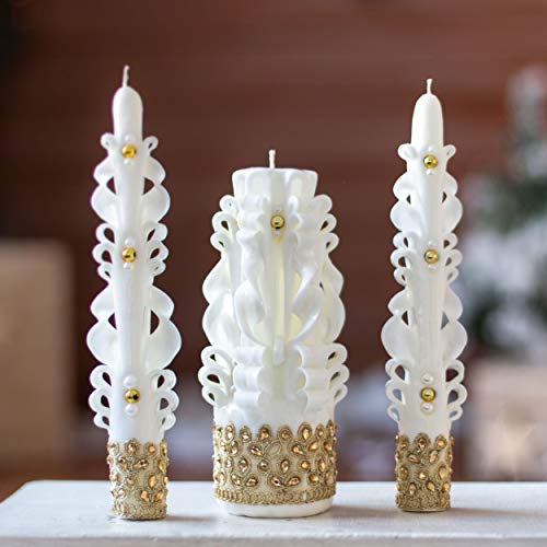 Carved candle set for wedding - unity candle white gold for churche ceremony