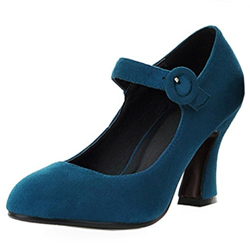 Classic Green COOLCEPT Ankle Mary Shoes Heels Pumps Women Court Strap Janes Block TAw5AOq