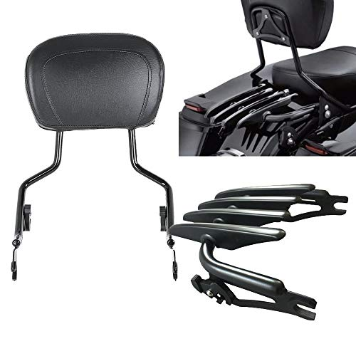 VBROS Matte Black Passenger Backrest Sissy Bar W/Stealth Luggage Rack For Harley Touring Electra Glide Road Glide Road King Street Glide 2009-UP