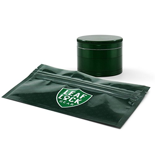 Diamond Grind 4-Piece 63mm Grinder with Leaf Lock Gear Spill Proof Pouch (Green) by Diamond Grind, Leaf Lock Gear