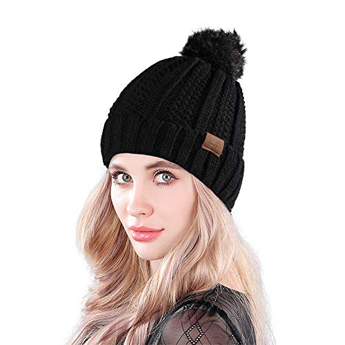 533165cb4eb MUCO Womens Beanie Winter Hat Knit Chunky Faux Fur Warm Linling Pom Poms Hat  Bobble Hat