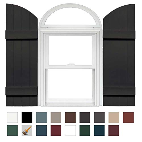 Mid-America Board-N-Batten 14'' 4 Board Joined Arch Top Vinyl Shutter - 1 Pair - 14 x 45 010 Musket Brown by Mid America