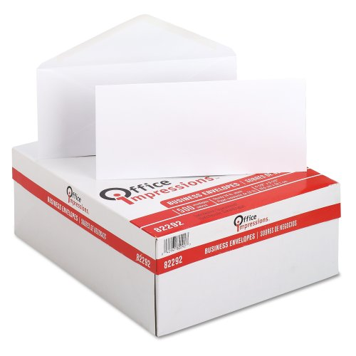 Office Impressions Plain Envelopes, #10 Trade Size (4 1/8 x 9 1/2), White, 500 Envelopes per Box (82292)