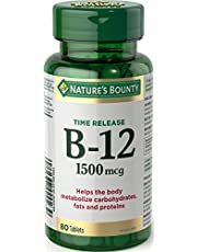 Nature's Bounty Time Release Vitamin B-12 Tablet, 1500 mcg
