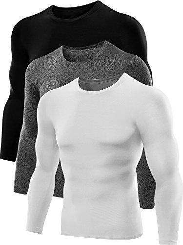 Neleus Men's Dry Fit Athletic Compression Shirts 3 Pack,5021,Grey,Black,White,US M,EU L