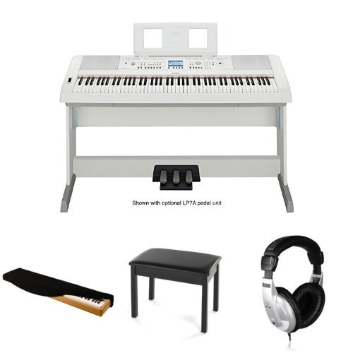 Yamaha dgx650wh digital piano with keyboard bench for Yamaha white piano bench