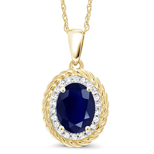 - Gem Stone King 1.94 Ct Oval Blue Sapphire White Diamond 14K Yellow Gold Pendant