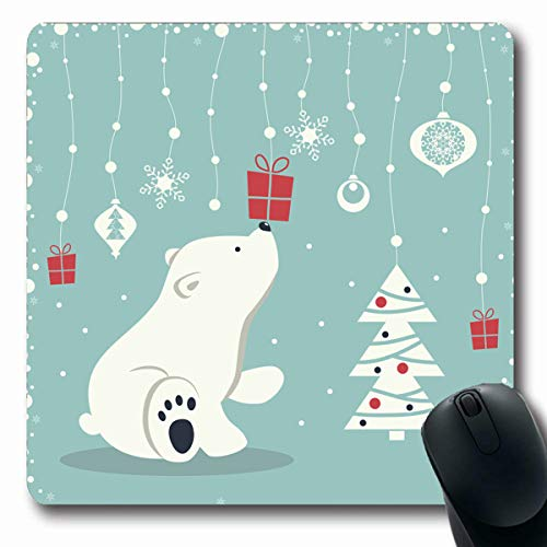 (Tobesonne Mousepads Depicts Seated Little Polar Bear Garland Snow Balls Xmas Christmas Toys Box Snowflakes Tree On Blue Oblong Shape 7.9 x 9.5 Inches Non-Slip Gaming Mouse Pad Rubber Oblong Mat)