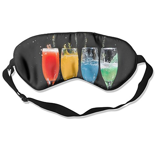 ZHYPMNU Sleep Mask Four Champagne Flutes with Assorted-Color Liquids Adjustable Blackout Eyes Masks -