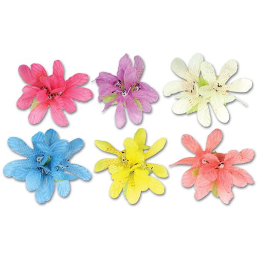 Beistle 50411 12-Pack Tiger Lily Hair Clips ()