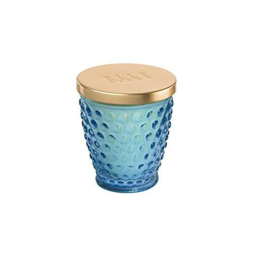 Elle Decor Hobnail 8 Ounce Glass Jar Candle-Jasmin and Bamboo, (Blue Glass Hobnail)
