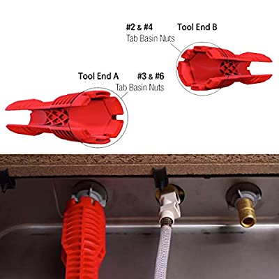 WREOW (8 in 1)Multifunctional Faucet Wrench Tool, Double Head Sink Installer Tool Water Pipe Spanner Tackle For Plumbers And Homeowners (red)