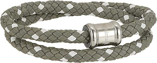 Miansai Men's Two-Tone Leather Casing Bracelet Gray/White MD