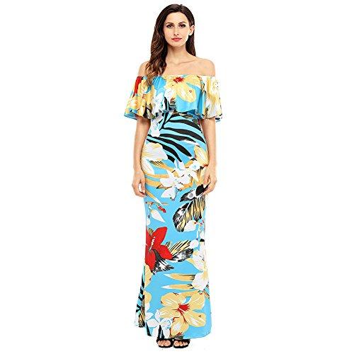 Mei&S La Mujer Elegante Vintage Prom Vestido Bustier Largo Collar Maxi Noche Vestido de Fiesta Sky Blue