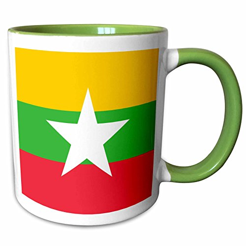 3dRose InspirationzStore Flags - Flag of Myanmar Burma - Burmese yellow green red stripes with white star - Asia country world flags - 15oz Two-Tone Green Mug (mug_158288_12)