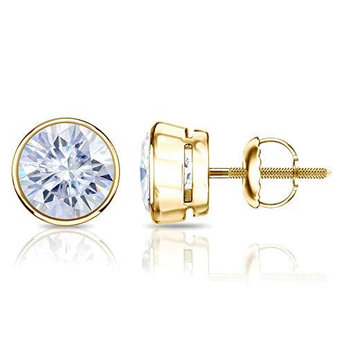 Gold 18ky Earrings (18K Yellow Gold 5mm 1.00 TGWMoissanite Round Stud Earrings in Bezel Screw Back (G-H, Color))