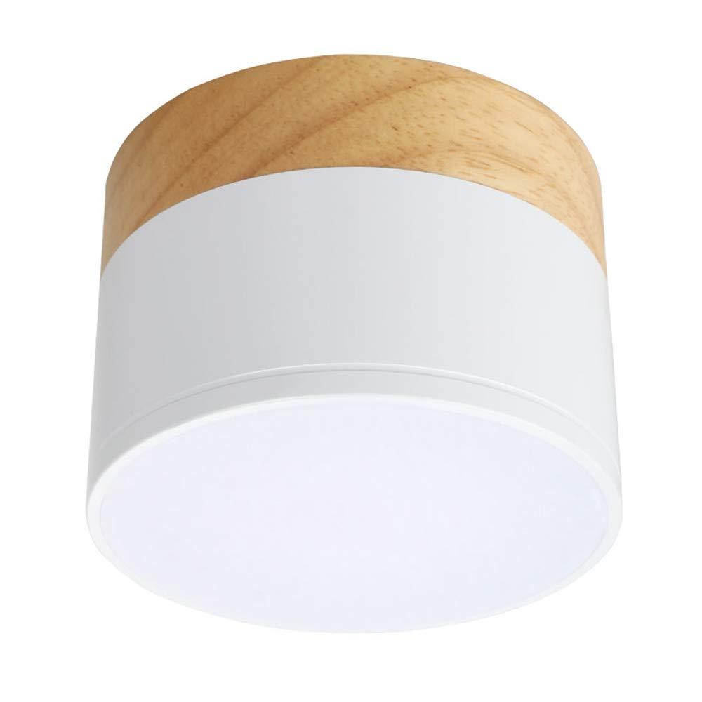 Aisilan LED Flush Mount Downlight, Ceiling Mount Accent Lighting Oak Wood 5W 550lumen 3000k-Warm White Ideal for Hallway Gallery Picture Display Kitchen Livingroom ML08-3K-5W