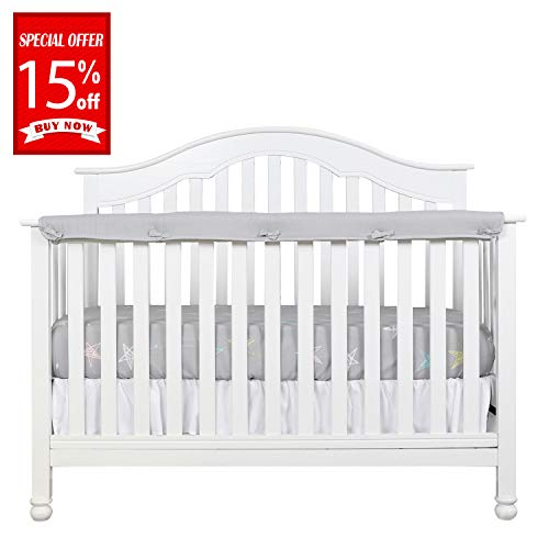 Designthology (U.S.) 1-Pack Super Breathable Narrow Crib Rail Cover for Long Rail - 100% Cotton Muslin, Gray, for Rails Measuring up to 8