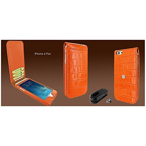 PIELFRAMA 689CON Magnetic Case Crocodile Apple iPhone 6 Plus in orange