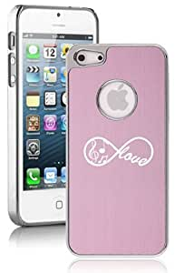 Apple iPhone 5 5s Aluminum Plated Chrome Hard Back Case Cover Infinity Love for Music (Pink)