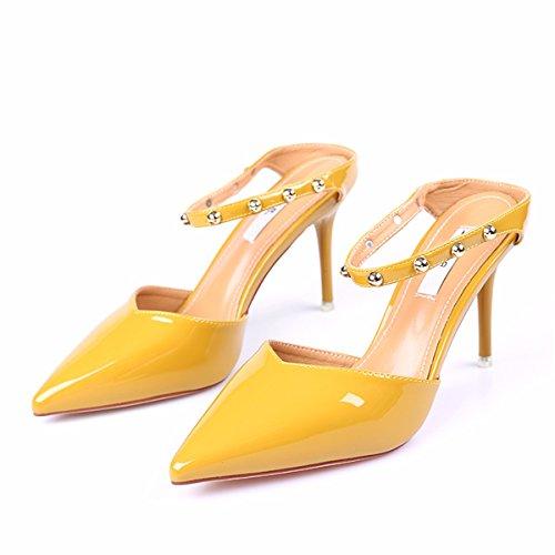 GTVERNH Zapatillas de Mujer/Verano/Fresco Dragging Mujer Laca Piel Baotou Fine Follow Dragging Rivets Sandalias amarillo