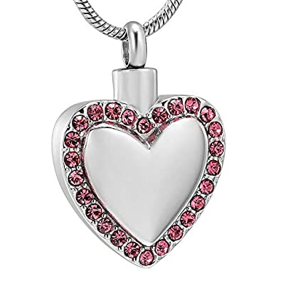 Crystal Heart Urn Necklace for Ashes Pendant Stainless Steel Heart Locket for Ashes Holder Keepsake