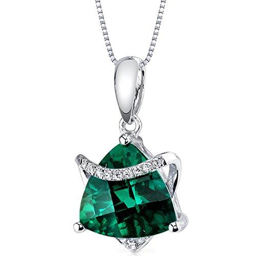 (14 Karat White Gold Trillion Cut 2.41 carats Created Emerald Diamond Pendant)