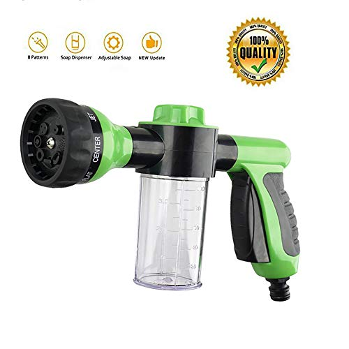 QSUBFPYK Garden Hose Nozzle/Hose Nozzle Heavy Duty,Foam Nozzle,Water Hose Nozzle,High Pressure Nozzles,Gardening Tools,8 Spray Patterns,Ideal for Car Wash,Cleaner,Watering Lawn and Pets (Green)