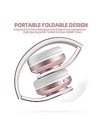 AILIHEN A80 - Auriculares inalámbricos Bluetooth con micrófono Hi-Fi estéreo, plegables, almohadillas suaves, soporte con tarjeta TF MP3, 25 horas de reproducción para viajes, TV, PC, teléfono móvil