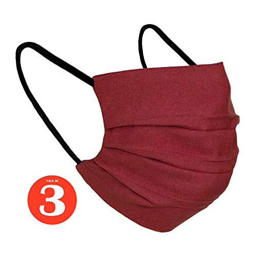 Karabar 3 x Washable 100% COTTON Face Masks Reusable – Made in Europe – UK Stock Fast Delivery – Ear Loop Covering…