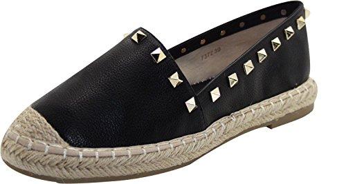 Crampons Pour Femmes D'été Glisser Sur Espadrilles Chaussures De Sport Espadrille-noir
