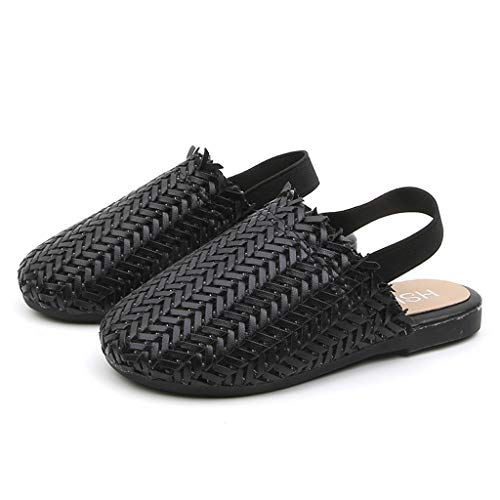 Leisuraly Baby Shoes  Summer Toddler Infant Kids Girls Boys Weave Retro Single Princess Shoes Sandals Black ()