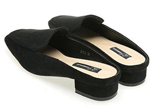 Qzunique Mujeres Square Head Gamuza Medias Zapatillas Con Grueso Tacón De Herradura Para El Verano, Otoño Negro